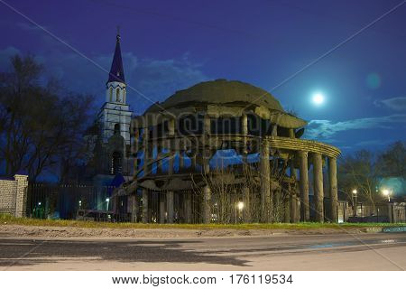 Voronezh Rotunda. Monument To The World War II (destroyed hospital) and Church of Equal to the Apostles Vladimir at night