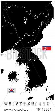 Korean Peninsula black blank map North And South Korea and flat navigation set with cities and capitals.