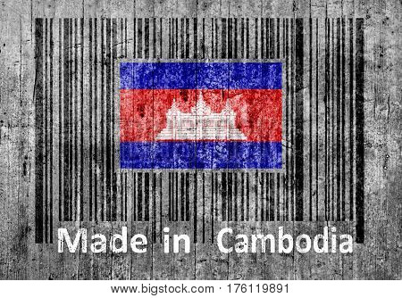 Bar code on concrete Made in Cambodia