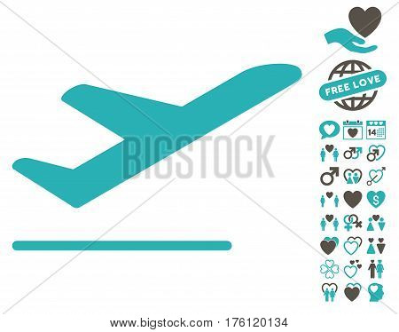 Airplane Departure icon with bonus dating pictures. Vector illustration style is flat iconic grey and cyan symbols on white background.
