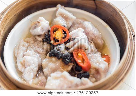 Chinese dim sum Black bean steamed pork ribs - Steamed Chinese groumet cuisine