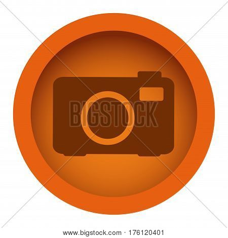 orange color circular frame with silhouette analog camera vector illustration