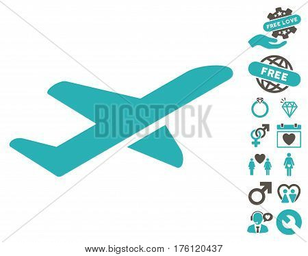 Airplane Takeoff icon with bonus dating images. Vector illustration style is flat iconic grey and cyan symbols on white background.