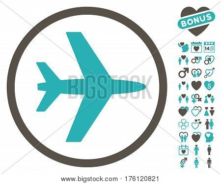 Airport pictograph with bonus dating pictograph collection. Vector illustration style is flat iconic grey and cyan symbols on white background.