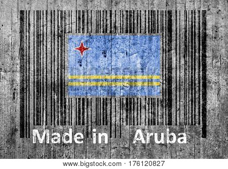 Bar code on concrete Made in Aruba