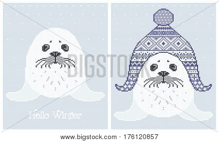 Vector illustrations of fur seal in a knitted hat. Set of cute posters with animal. Can be used in embroidery knitting or in the printing industry textiles.