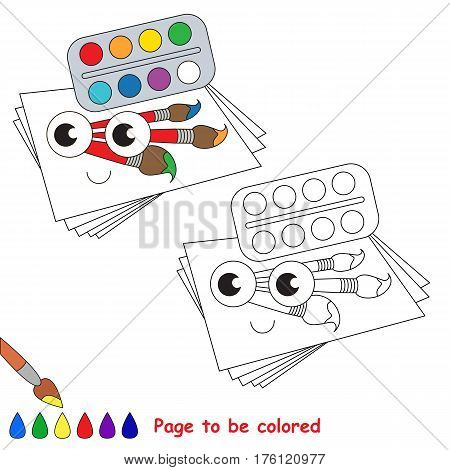 Watercolor to be colored, the coloring book to educate preschool kids with easy kid educational gaming and primary education of simple game level.