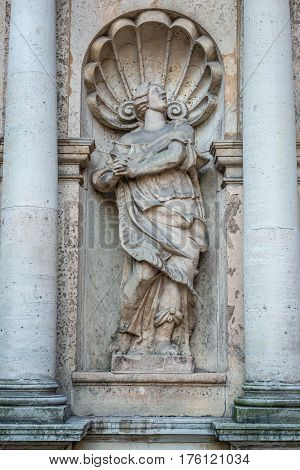 Sculpture on Lutheran church of St Peter Old City of Riga Latvia