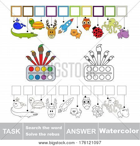 Vector rebus game for preschool kids with easy educational game level for kid education during gaming, find solution and write the hidden word in grid cells - Watercolor