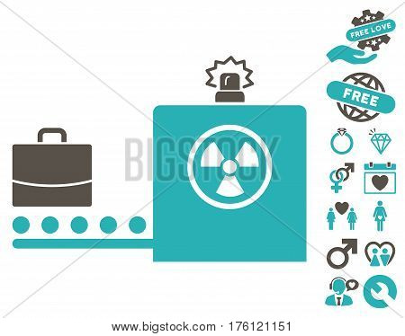 Baggage Screening pictograph with bonus dating pictograph collection. Vector illustration style is flat iconic grey and cyan symbols on white background.