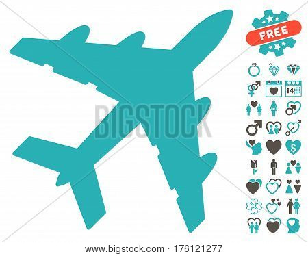 Bomber pictograph with bonus valentine design elements. Vector illustration style is flat iconic grey and cyan symbols on white background.
