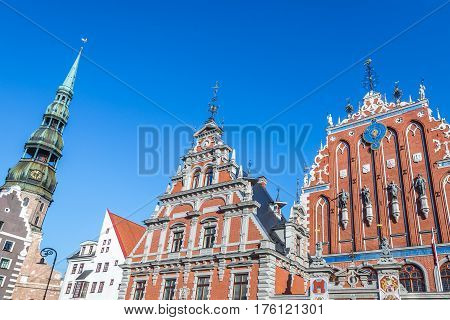 House of Blackheads and Saint Peter Church Old City of Riga Latvia