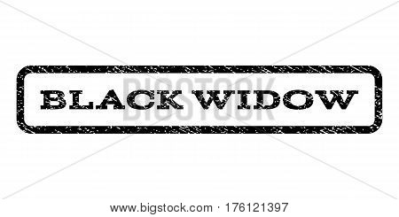 Black Widow watermark stamp. Text caption inside rounded rectangle with grunge design style. Rubber seal stamp with scratched texture. Vector black ink imprint on a white background.