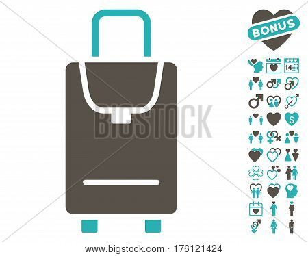 Carryon icon with bonus dating icon set. Vector illustration style is flat iconic grey and cyan symbols on white background.