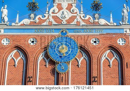 astronomical clock on the House of Blackheads in Riga Latvia