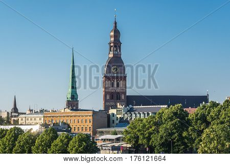 Tower of Cathedral of Riga seen from the Stone Bridge in Riga Latvia