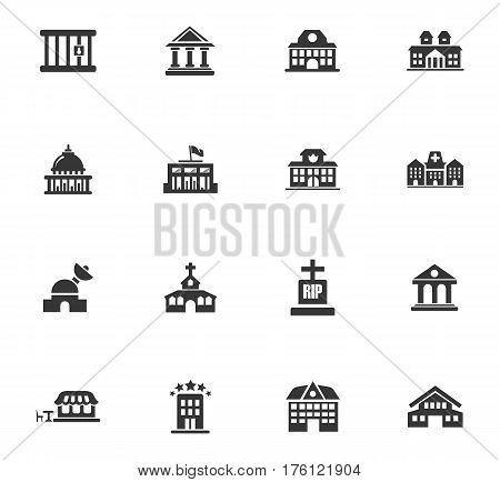 Infrastructure city icons set and symbols for web user interface poster