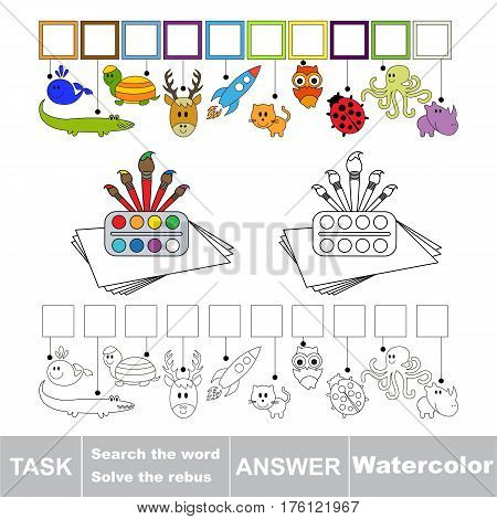Vector rebus game for preschool kids with easy educational game level for kid education during gaming, find solution and write the hidden word in grid cells - Watercolor.