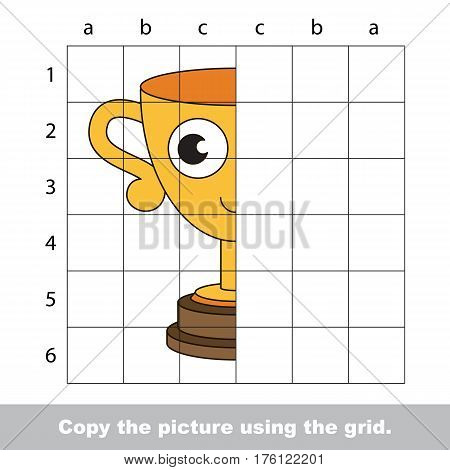 Vector kid educational game with easy game level for preschool kids education, finish the simmetry picture using grid sells, the funny drawing kid school. Drawing tutorial for half Funny Winner Cup