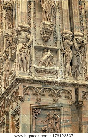 Old photo with facade of the famous Milan Cathedral Lombardy Italy. Detail.Vintage processing.