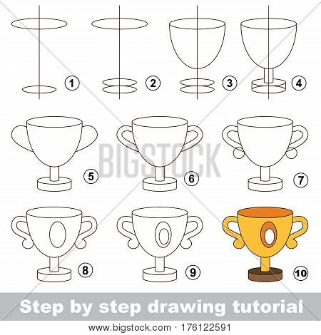 Vector kid educational game to develop drawing skill with easy game level for preschool kids education, the funny drawing kid school. Drawing tutorial for Winner Cup.