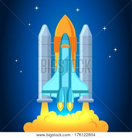 Space shuttle rocket launch, Startup illustration Rocket in the clouds. Rocket Startup Flat design style