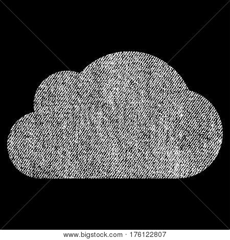 Cloud vector textured icon for overlay watermark stamps. Fabric white vectorized texture. Symbol with dirty design. Rubber seal stamp with fiber textile structure.