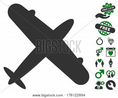 Aeroplane pictograph with bonus valentine images. Vector illustration style is flat iconic green and gray symbols on white background.