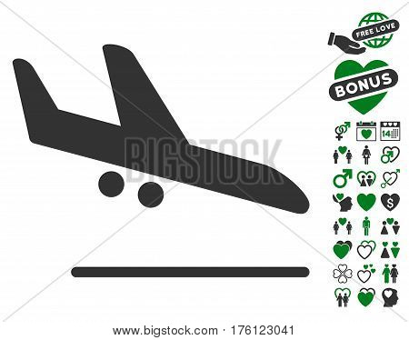 Aiplane Landing icon with bonus dating pictures. Vector illustration style is flat iconic green and gray symbols on white background.