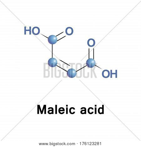 Maleic acid or cis-butenedioic acid is an organic compound that is a dicarboxylic acid, a molecule with two carboxyl groups. Its chemical formula is HO2CCHCHCO2H