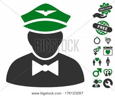 Airline Steward icon with bonus valentine design elements. Vector illustration style is flat iconic green and gray symbols on white background.