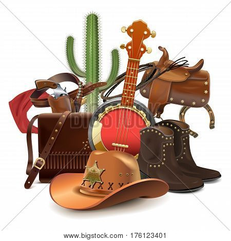 Vector Cowboy Concept with Banjo isolated on white background