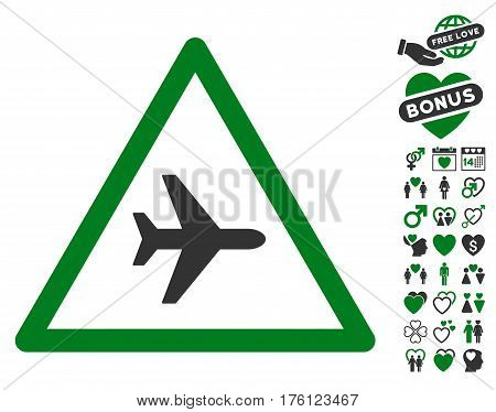 Airplane Danger pictograph with bonus dating pictograph collection. Vector illustration style is flat iconic green and gray symbols on white background.