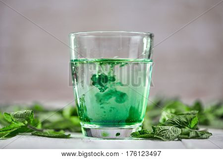 Chlorophyll In Glass Of Water With Fresh Green Mint