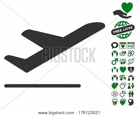 Airplane Departure icon with bonus love symbols. Vector illustration style is flat iconic green and gray symbols on white background.