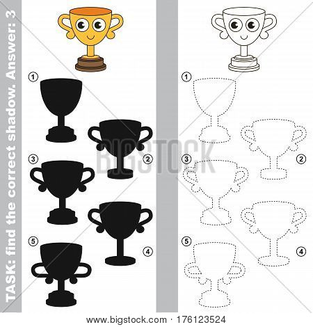 Funny Winner Cup with different shadows to find the correct one. Compare and connect object with it true shadow. Easy educational kid gaming. Simple level of difficulty, visual game for children.