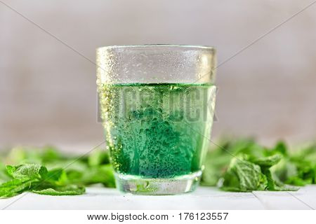 Mint Chlorophyll Drink In Glass With Water Drops