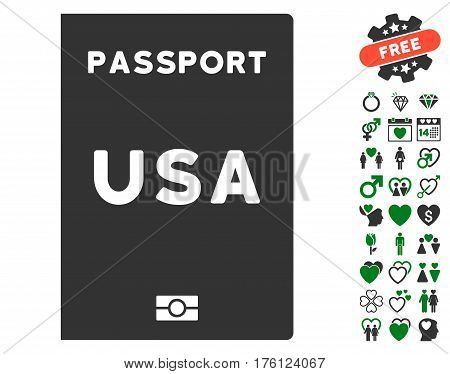 American Passport icon with bonus lovely icon set. Vector illustration style is flat iconic green and gray symbols on white background.