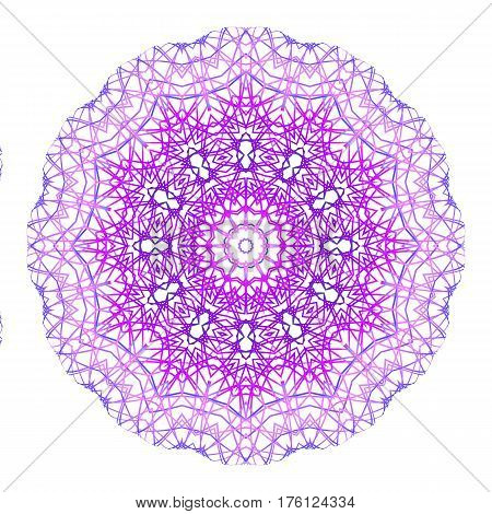 Abstract concentric shape from color lines on white background