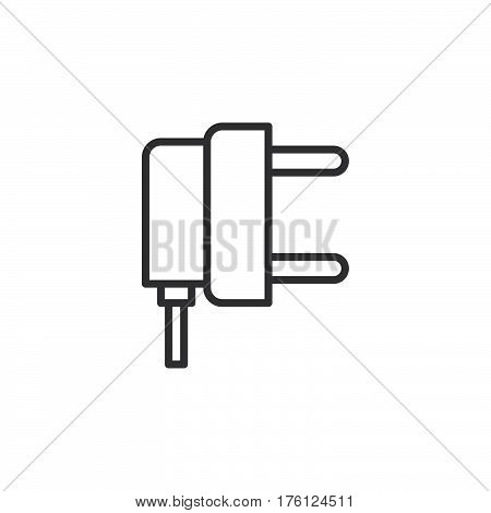 AC power plug line icon outline vector sign linear pictogram isolated on white. Symbol logo illustration