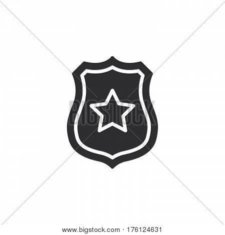 Sheriff badge with star icon vector filled flat sign solid pictogram isolated on white. Public safety symbol logo illustration