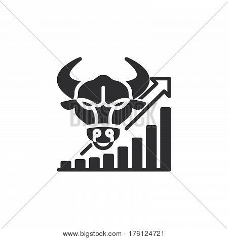 Stock market going up icon vector filled flat sign solid pictogram isolated on white. Bull trend symbol logo illustration