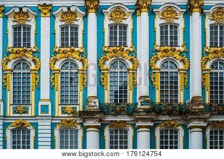 Windows Of The Catherine Palace In Tsarskoye Selo, Pushkin, Saint Petersburg
