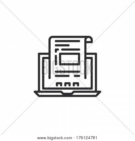 Laptop with document invoice line icon outline vector sign linear pictogram isolated on white. Symbol logo illustration