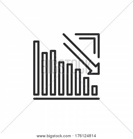 Arrow graph going down line icon outline vector sign linear pictogram isolated on white. Crisis symbol logo illustration