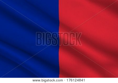Flag of Paris is the capital and most populous city of France. 3D illustration