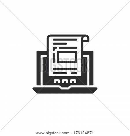 Laptop with document invoice icon vector filled flat sign solid pictogram isolated on white. Symbol logo illustration