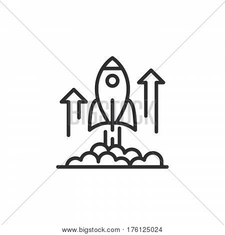 Rocket launch line icon outline vector sign linear pictogram isolated on white. Business startup symbol logo illustration