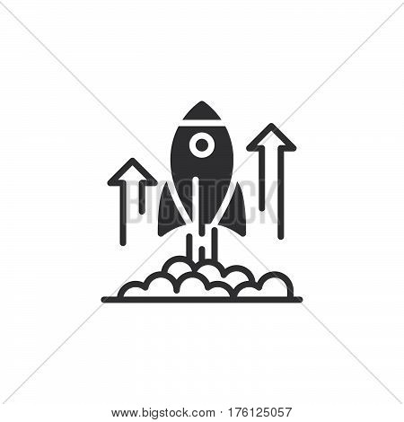 Rocket launch icon vector filled flat sign solid pictogram isolated on white. Business startup symbol logo illustration