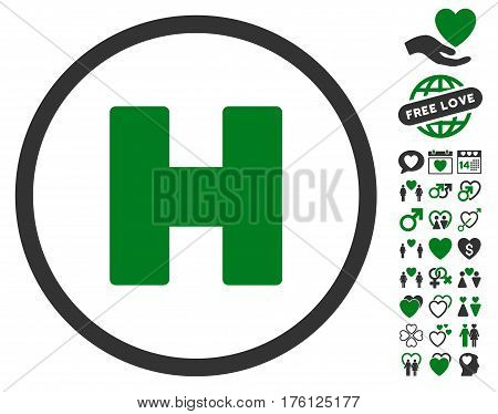 Helicopter Landing icon with bonus dating icon set. Vector illustration style is flat iconic green and gray symbols on white background.